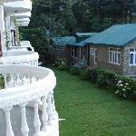 Balcony facing mountains and back garden