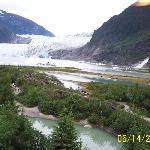 Glacier, waterfall and grounds from Visitors Center