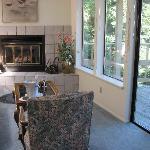 Sitting area facing ocean & fireplace