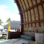 Napping in a cabana.