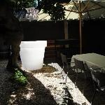 un pot design sur la terrasse ombragée