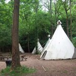 View of another camping area with tepees.