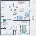 Floor plan of one bedroom unit