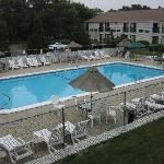 View of outdoor pool from #208