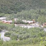 view of lodge from top of hill