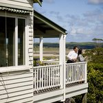 Drinks on the verandah overlooking the Aire River Wildlife Reserve