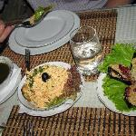 Some appetizers - sauce, chicken salad, eggplant