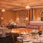 The Crystal Ballroom set for a wedding.
