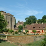 The garden and the Abbey at Chez Juliens