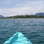 Out on a surf kayak