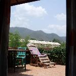 view from the bed through the patio doors