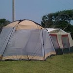 Our fortress at Frisco Woods- we backed our screen tent up to our sleeping tent to keep out the