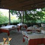 The outside dining area which overlooks the fields and the forest