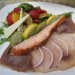 Beautiful Salad - maple smoked fish!  Mmm!