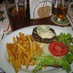 blue cheese burger at Sunset Cafe