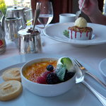 Amaretto Creme Brulee and Berry Crumble