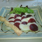 The starter of Scallop and Beetroot Carpaccio