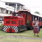 Mr Coconut leaving the train at Sigatoka