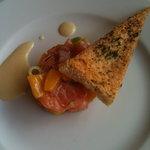 Scottish Salmon Tartare, Lime Zest, Sea Salt and Chili Flakes