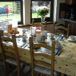 The breakfast table - coasters on table show the pictures of Morar - so cool!