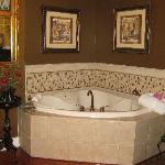 Two person Jacuzzi tub. Another fireplace in the bath as well.