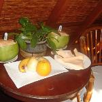 The farm: our coconut drinks and fruits in our room