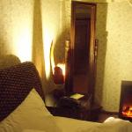 Room with electrical fire place!