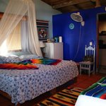 The large bed in bungalow Azul