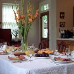 The bright colorful dining room where breakfast is served, daily.