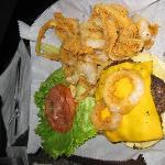 Cheeseburger and onion rings