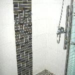 The room's shower enclosure