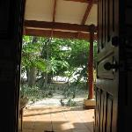 The view out the front door of our villa to Playa Hermosa