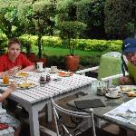 Enjoying breakfast in the garden