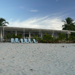 View of the restaurant from the beach by daylight
