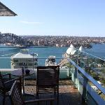 The opera house and the harbour bridge from the Club Lounge Balcony