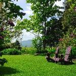 Jardin enchanteur avec ouverture sur les champs