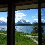 View of Tetons from inside hotel room
