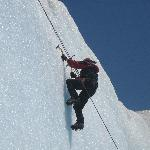 Climbing the ice wall