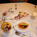 Dessert. Wild Berry Napoleon, Creme Brulee, Panache de Cassis