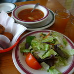 Fritters, Cider, Salad & Vegetable Soup at Carver's Applehouse