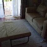 Size of livingroom with single bed out and they said this slept 4!!!!