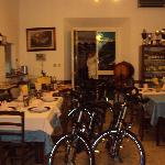 When the dining room closes the bike come inside!