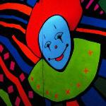 Clowns in black light from fun house!