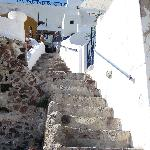 Stairs from street down to the cave house