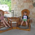 Rlaxing on the front patio entrance into Stone Mill Suites
