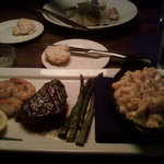filet mignon, lobster mac 'n cheese, shrimp, and asparagus