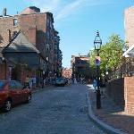 Looking Up the Street from the Restaurant at Paul Revere's house.