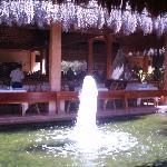 Un des jets d'eau avec bassin de carpes Koïs