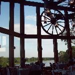 Window in restuarant overlooking golf course and lake