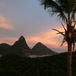 sunset over the Pitons